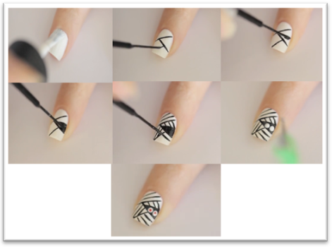 uñas pintadas a pincel