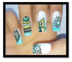 como pintar uñas con dibujo facil